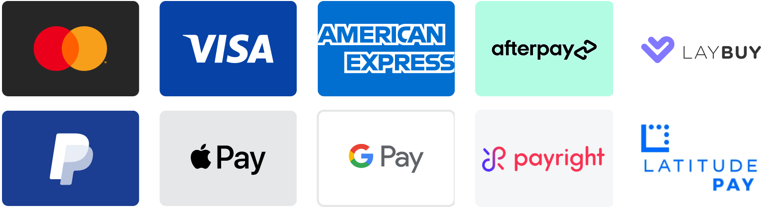 Payment methods accepted: Mastercard, Visa, American Express, PayPal, Apple Pay, Google Pay, Afterpay, Latitudepay, Payright, Laybuy, Splitit